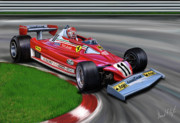 Automotive Digital Art Metal Prints - Niki Lauda F-1 Ferrari Metal Print by David Kyte