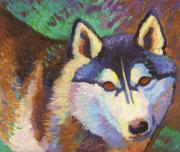Siberian Husky Paintings - Nikita  by Linda Ruiz-Lozito