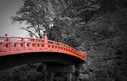 Red Buildings Posters - Nikko Red Bridge Poster by Irina  March