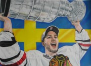 Flyers Drawings Acrylic Prints - Niklas Hjalmarsson with cup Acrylic Print by Brian Schuster