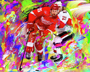 Hockey Painting Prints - Niklas Kornwall Print by Donald Pavlica