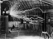 Lightning Photos - Nikola Tesla 1856-1943 Created A Double by Everett