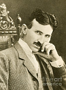 Electrical Engineer Framed Prints - Nikola Tesla, Serbian-american Inventor Framed Print by Photo Researchers