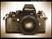 Sepia Tone Digital Art - Nikon F3 HP by Mike McGlothlen