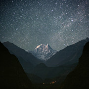Night Photo Posters - Nilgiri South (6839 M) Poster by Anton Jankovoy