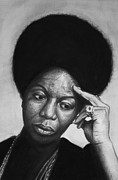 Singer Drawings - Nina Simone by Steve Hunter