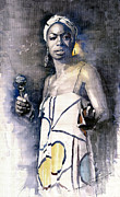 Watercolor  Paintings - Nina Simone by Yuriy  Shevchuk