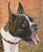 Boxer Painting Prints - Nina the Boxer Print by Brenda Morgado
