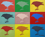 Crows Paintings - Nine Crows by Donald Amorosa