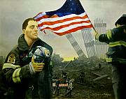 September 11 2001 Metal Prints - Nine Flags Eleven Fireman One Body Metal Print by Jim Horton