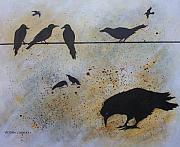 Crows Paintings - Nine is a Secret by Victoria Heryet