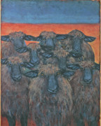Ewes Originals - Nine Monkton Sheep Orange and Blue by Lynn Rupe
