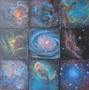 Galaxies Paintings - Nine Nebulae by Alizey Khan