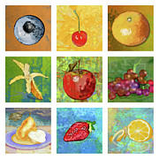 Citrus Digital Art Prints - Nine Ripe Fruit Print by Mary Ogle