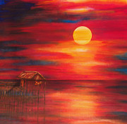 Lyn Deutsch Art - Nipa Hut at Sunset by Lyn Deutsch