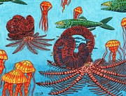 Jellyfish Drawings Framed Prints - Nipponites Framed Print by John Meszaros