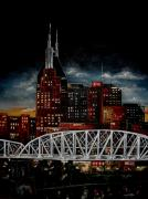 Skylines Paintings - Nite in Nashville by Vickie Warner