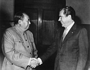 Summit Meetings Posters - Nixon In China. President Nixon Meets Poster by Everett