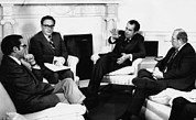 Bh History Framed Prints - Nixon Presidency. From Left Framed Print by Everett