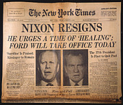 Resignation Prints - Nixon Resigns: Newspaper Print by Granger