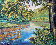 Textures Paintings - Nixons A Sunny Day on the Rapidan by Lee Nixon