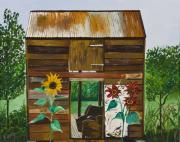 Sweta Prasad Paintings - NJ Barn by Sweta Prasad