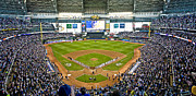 League Framed Prints - NLDS Miller Park Milwaukee Framed Print by Steve Sturgill