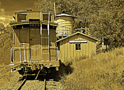 Colorado Railroad Museum Posters - No Agua Station sepia Poster by Rich Walter