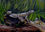 Lizards Paintings - No car insurance so dont ask by Edward Wheeler