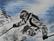 Skier Prints - No Fear Print by Carla Carson