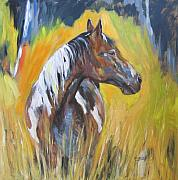 Wild Horse Mixed Media Prints - No fences Print by Debora Cardaci