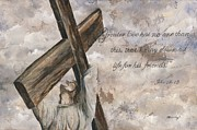 Bible Mixed Media Metal Prints - No Greater Love Metal Print by Chris Brandley