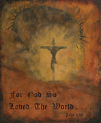 Crucifix Paintings - No Greater Love w/script by Terry  Hester