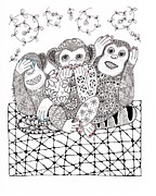 Monkeys Drawings - No Monkey Business by Paula Dickerhoff
