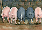 Pig Paintings - No More Butts About It by Marsha Elliott