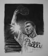 Baseball. Philadelphia Phillies Drawings - No No by Paul Autodore