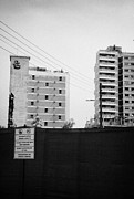 Ghost Signs Prints - No Photography Warning Signs At Varosha Forbidden Zone With Salaminia Tower Hotel Abandoned In 1974 Print by Joe Fox