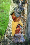 Wood Carving Sculpture Prints - No Place like Gnome Home III Print by Eric Knowlton