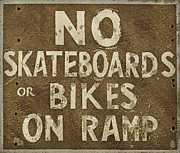 Rodanthe Prints - No Skateboards or Bikes On Ramp  Print by Anne Kitzman