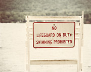 York Beach Metal Prints - No Swimming Metal Print by Lisa Russo