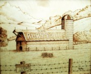 Farms Pyrography Prints - No Trespassing Print by Freddy  Smith
