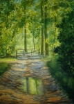 Puddle Painting Prints - No Trespassing Print by Shirley Braithwaite Hunt