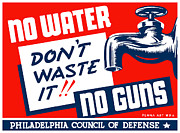 Political Mixed Media Prints - No Water No Guns Print by War Is Hell Store