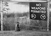 Black And White Photography Photo Metal Prints - No Weapons Permitted Metal Print by Bob Orsillo