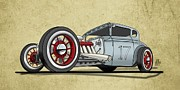 Old Car Drawings Prints - No.17 Print by Jeremy Lacy