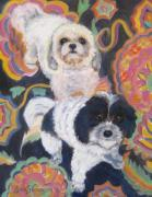 Havanese Paintings - Noah and Kobe by Jane  Simonson