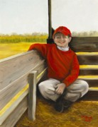 Baseball Cap Painting Prints - Noah on the Hayride Print by Marlene Book