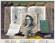 Noah Prints - Noah Webster 1758-1843 Created An 1828 Print by Everett