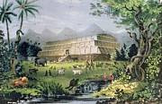 Flood Painting Posters - Noahs Ark Poster by Currier and Ives