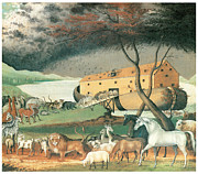 Noah Framed Prints - Noahs Ark Framed Print by Edward Hicks